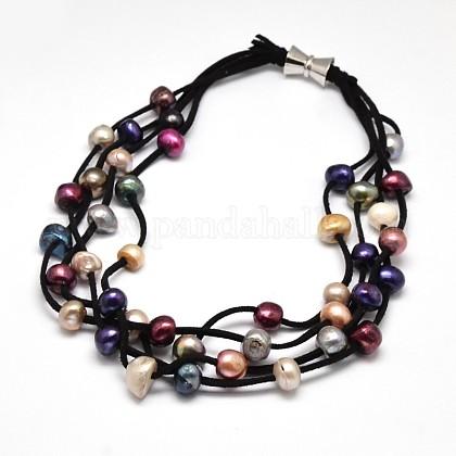 Collares de múltiples hilos de perlas de lujo para mujerNJEW-L345-N12-1