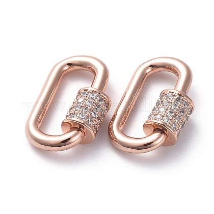 Brass Micro Pave Cubic Zirconia Screw Carabiner Lock Charms ZIRC-G160-22RG-1
