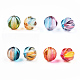 Two Tone Transparent Spray Painted Acrylic Corrugated Beads, Round, Mixed Color, 7.5x8x7.5mm, Hole: 1.5mm