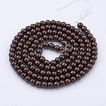 Glass Pearl Beads Strands, Pearlized, Round, SaddleBrown, 6mm, Hole: 1mm; about 140pcs/strand, 32