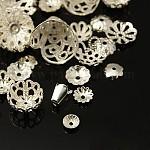 真鍮製ビーズキャップ, 混合形状, 銀色のメッキ, 5~29x1~18mm, ホール; 0.5~2.5ミリメートル