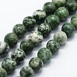 Chapelets de perles en jaspe à pois verts naturels, ronde, 4mm, trou: 0.6mm; environ 95 pcs/chapelet, 14.76