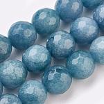 Malasia abalorios naturales jade hebras, teñido, facetados, redondo, steelblue, 12mm, agujero: 1.2 mm; aproximamente 32 unidades / cadena, 14.9