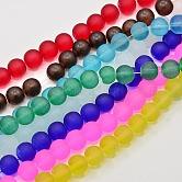 Chapelets de perles en verre mate, ronde, couleur mixte, 10mm, trou: 2 mm; environ 80 pcs / brins, 31
