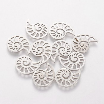 304 Stainless Steel Charms, Conch, Stainless Steel Color, 11.4x14.4x1mm
