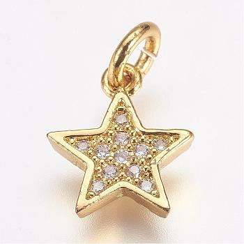 Brass Micro Pave Cubic Zirconia Charms, Star, Golden, 11.5x10x2mm, Hole: 3mm