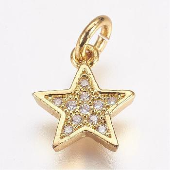 Ottone micro spianare fascino zirconi, stella, oro, 11.5x10x2mm, Foro: 3 mm
