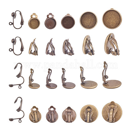 Brass Clip-on Earring Cabochon Setting Components KK-PH0001-09AB-1