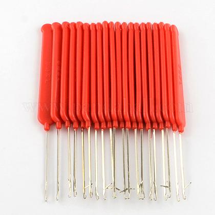 ホワイトゴールドトーンプラスチックハンドル鉄かぎ針編みフック針TOOL-R093-01-1