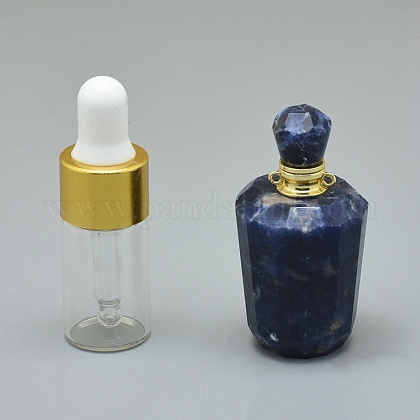 Colgantes de frascos de perfume abribles de sodalita natural facetadosG-E556-05J-1