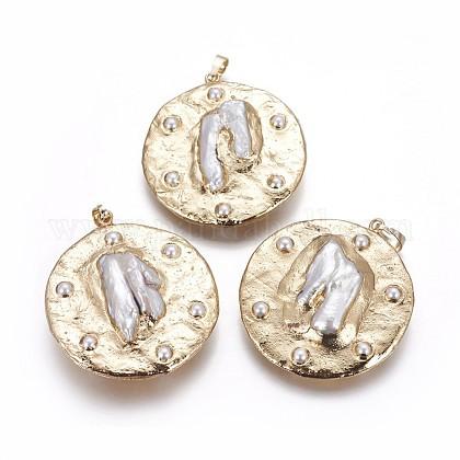 Electrochapa colgantes de perlas cultivadas naturales de agua dulcePEAR-F010-03G-1