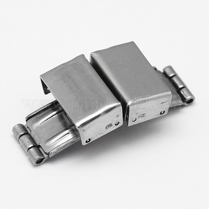 Rectangle 304 Stainless Steel Watch Band Clasps STAS-F067-05-1