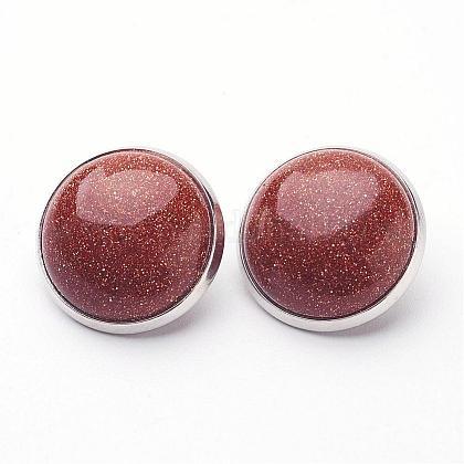 Synthetic Goldstone Brass Clip-on EarringsEJEW-A051-A012-1