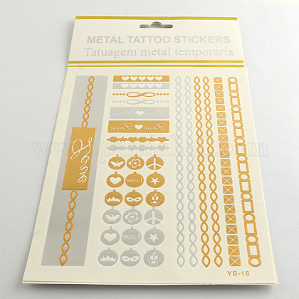 Mixed Shapes Cool Body Art Removable Fake Temporary Tattoos Metallic Paper StickersAJEW-Q081-49-1