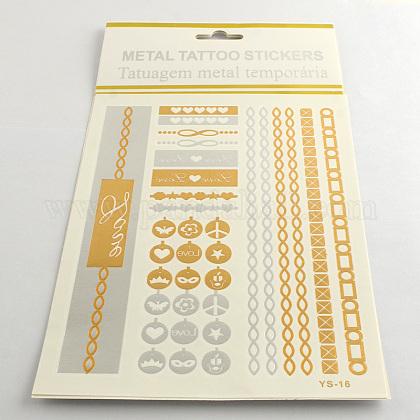 Смешанные формы остыть боди-арт съемной поддельные временные татуировки металлизированной бумаге наклейкиAJEW-Q081-49-1