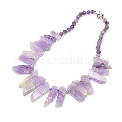 Piedras preciosas naturales con cuentas babero collares declaraciónNJEW-P083-08-1