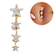 Piercing Jewelry Real 18K Gold Plated Brass Star Cubic Zirconia Navel Ring Belly RingsAJEW-EE0001-94-3