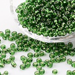 6/0 Glass Seed Beads, Silver Lined Round Hole, Round, LimeGreen, 4mm, Hole: 1.5mm; about 4500 beads/pound