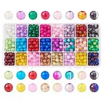 Spray Painted Crackle Glass Beads, Round, Mixed Color, 6mm, Hole: 1.3~1.6mm, about 60pcs/comparent, 1440pcs/box
