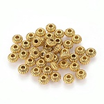 Бусины разделители из сплава , рондель, без кадмия, без никеля и без свинца, античное золото , 6x4 мм, отверстие : 1.5 мм