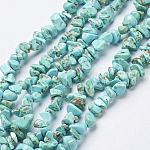 Synthetic Turquoise Beads Strands, Dyed, Chips, Turquoise, 3~8x3~8mm, Hole: 1mm, 34