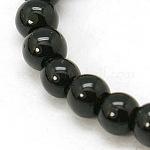 4mm Black Opaque Round Glass Beads Strands Spacer Beads, 4mm, Hole: 0.5mm; about 84pcs/strand, 13inches