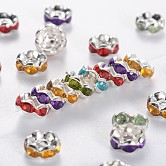 Brass Acrylic Rhinestone Spacer Beads, Wavy Edge, Silver Color Plated, Rondelle, Mixed Color, 6x3mm, Hole: 1mm