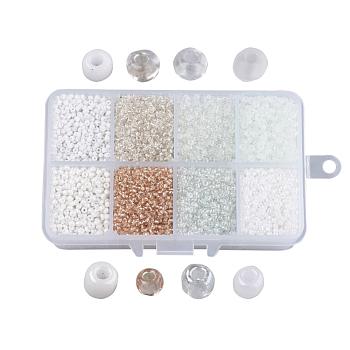 12/0 Perlas de semillas de vidrio, estilo mezclado, redondo, blanco, 2~2.5x2mm, agujero: 0.5 mm, aproximamente 12500 unidades / caja, caja de embalaje: 11x7x3 cm