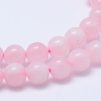 Madagascar natural rosa de bolas de cuarzo Strads, grado ab, redondo, 8mm, agujero: 1 mm; aproximamente 48 unidades / cadena, 15~16 pulgada