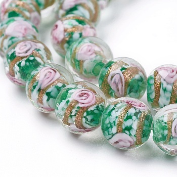 "Green Handmade Gold Sand Lampwork  Beads Strands, Round, Green, 11~12mm, Hole: 1mm, about 33pcs/strand, 14.5""(37cm)"