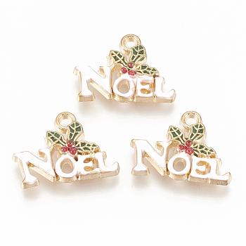 Pendente smaltati in lega, agrifoglio di Natale lascia con la parola noel, verde oliva scuro, oro chiaro, 14x19x3mm, Foro: 1.8 mm