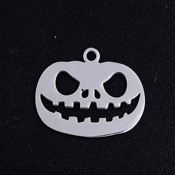 201 подвески нержавеющей стали, для Хэллоуина, тыква джек-о-фонарь джек-о-фонарь, цвет нержавеющей стали, 14.5x17.5x1 мм, отверстие : 1.5 мм