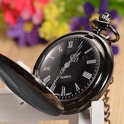 開閉可能なフラットラウンド合金ペンダント懐中時計WACH-D046-1