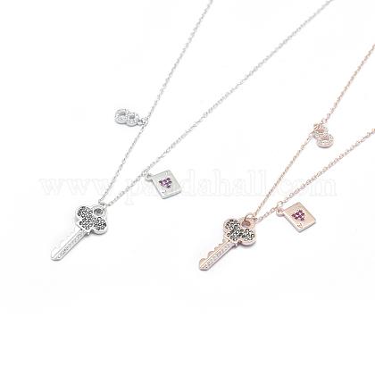 Collares colgantes ajustables de plata de ley 925NJEW-F246-06M-1