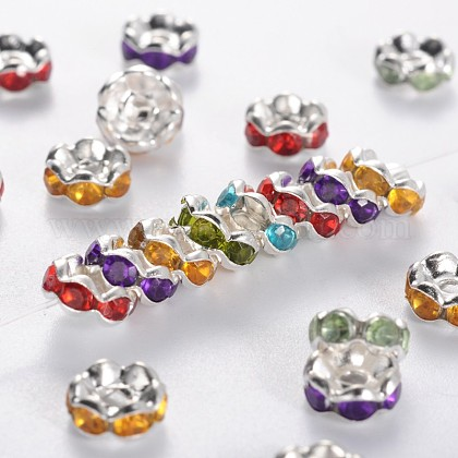 Brass Acrylic Rhinestone Spacer Beads RSB6mm-1