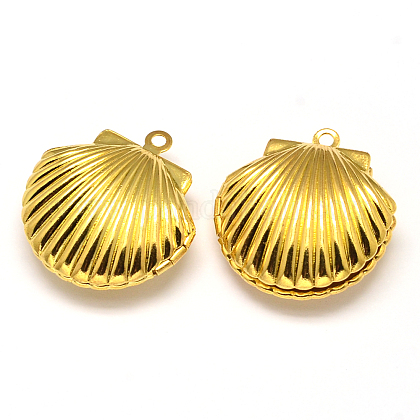 Shell estante de chapado de metal colgantes medallónKK-N0096-01G-LF-1