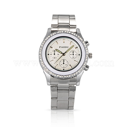 Men Casual Wristwatch High Quality Stainless Steel Rhinestone Diamond-studded Quartz WatchesWACH-N004-16-1