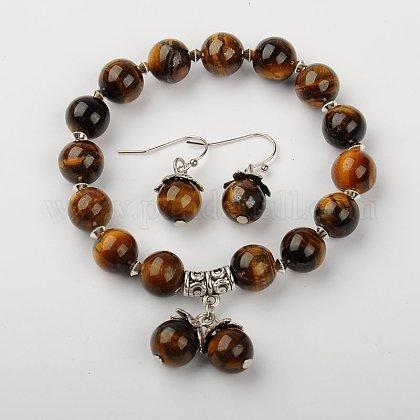 Tiger Eye Jewelry SetsSJEW-JS00695-01-1