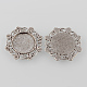 Tibetan Style Antique Silver Alloy Flower Tray Cabochon SettingsTIBE-M021-11AS-2