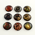 Flatback Half Round Vintage Flower Pattern Glass Dome Cabochons for DIY Projects, Mixed Color, 25x6mm