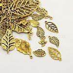 合金のチベット風ペンダント, 各種の葉, アンティーク黄金, 12.5~78x6~51x1~5.5mm, 穴:1.5~6x3.5mm