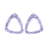 Cellulose Acetate(Resin) Pendants, with Paillette, Triangle, Lilac, 42.5x39x2mm, Hole: 1.4mm
