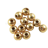 Plating Acrylic Beads, Round, Golden, about 6mm in diameter, hole: 1mm