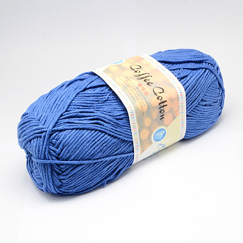 Soft Hand Knitting Yarns, with Cotton, PAN Fiber and Coff Extract, Royal Blue, 2.5mm; about 100g/roll, 5rolls/bag