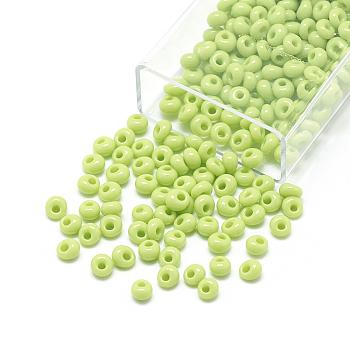 Cuentas de semillas de flecos japoneses toho, vidrio opaco ronda agujero rocailles semilla cuentas, amarillo verdoso, 5x4.5mm, Agujero: 1.5 mm; aproximamente 111 unidades / 10 g