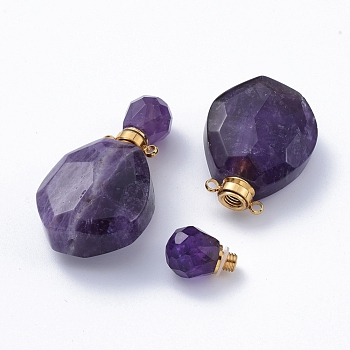 Faceted Natural Amethyst Openable Perfume Bottle Pendants, with Golden Tone 304 Stainless Steel Findings, 39.5x22.5~23x13.5mm, Hole: 1.8mm; Bottle Capacity: 1ml(0.034 fl. oz)