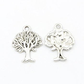 Tibetan Style Pendants, Tree of Life, Lead Free & Cadmium Free, Antique Silver, about 22mm long, 17mm wide, 2mm thick, hole: 2mm