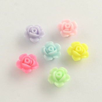 Opaque Acrylic Beads, Flower, Mixed Color, 13x8mm, Hole: 2mm; about 1130pcs/500g