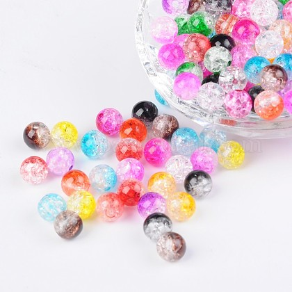 Two Tone Transparent Crackle Acrylic BeadsCACR-R009-8mm-M-1