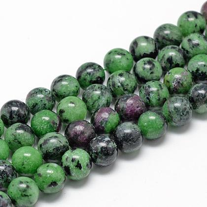 Natural Ruby in Zoisite Beads StrandsG-R446-8mm-25-1